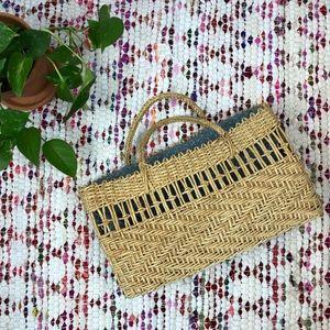 Vintage 90s Large Lined Straw Market Bag Tote